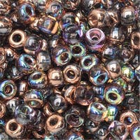 BeadSmith Unions, 6/0 Round Seed Beads, 20 Gram Tube, Crystal Copper Rainbow