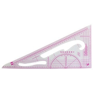"""Unique Bargains Plastic 10.8"""" Triangle Ruler Educational Students Stationery Measuring Tool Clear Red"""