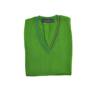 Etro Green Pure Wool Duo Tone Border V Neck Sweater Vest