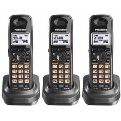 Panasonic KX-TGA939T (3 Pack) Extra Handset for KX-TG93XX Cordless Phones Series, Metallic Black