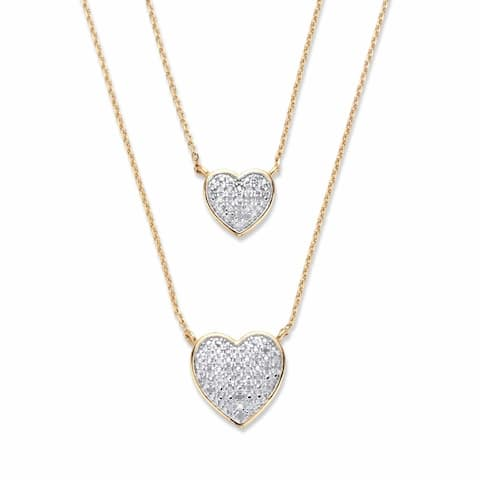 Yellow Gold Plated Round Genuine Diamond Double Strand Heart Necklace