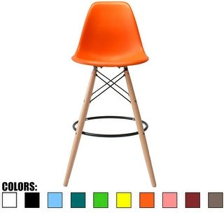 "2xhome Eames Style Armless Bar Stool Chair with Natural Wood Eiffel Legs 25"" or 26"" Seat Height (Details in Dimension Photo)"