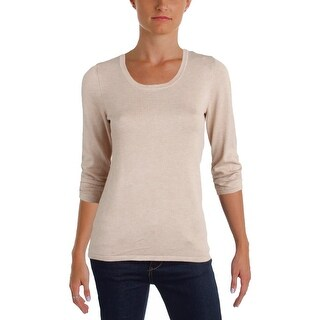 NY Collection Womens Petites Pullover Sweater Scoop Neck 3/4 Sleeves