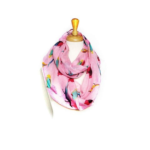 Infinity Scarf Birds Print Bouble Loop Scarves Light Weight Soft - circumference 68 inches x 24 inches
