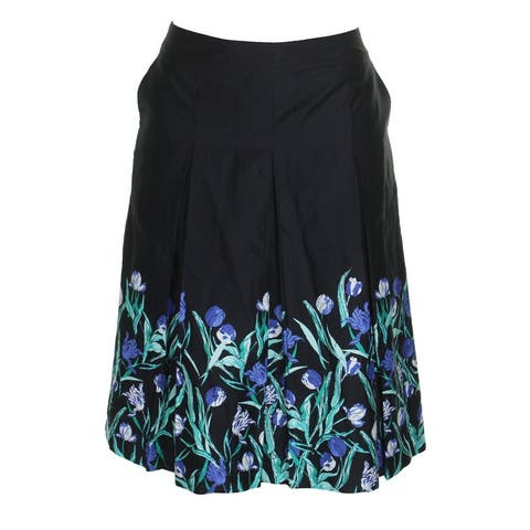 Charter Club Cotton Deep Black Blue Floral Printed Fit And Flare Skirt 8
