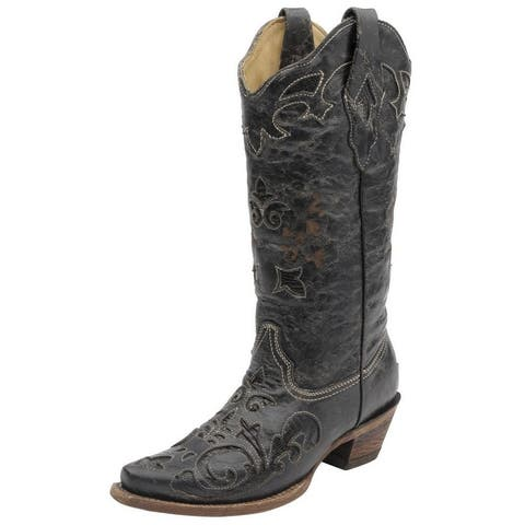 "Corral Western Boots Womens 13"" Shaft Lizard Inlay Snip Toe"