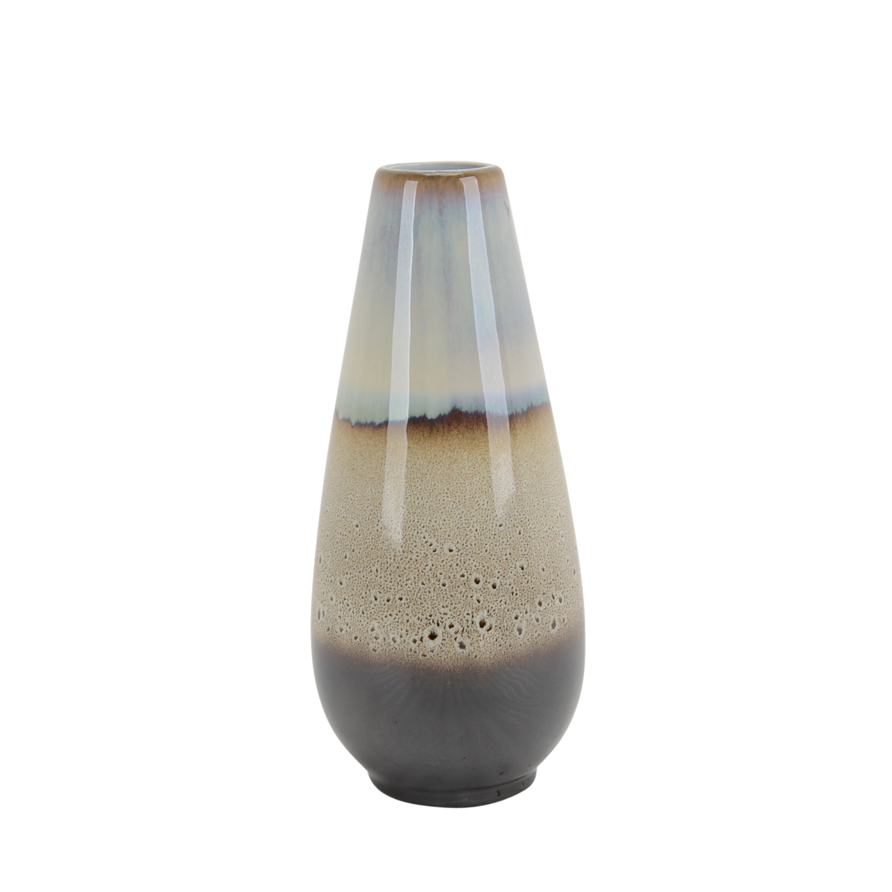 Decorative Ceramic Vase with Narrow Round Neck and Tapered Bottom, Gray and Brown