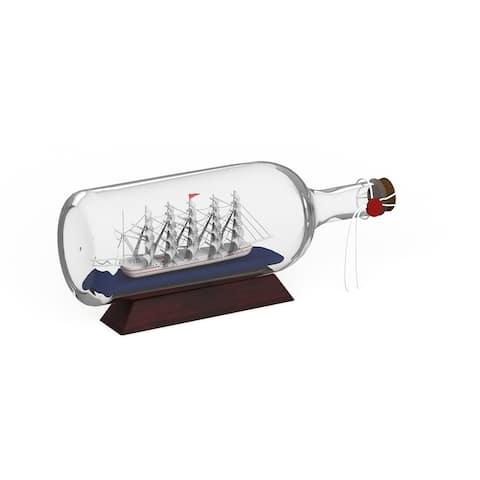 Carbon Loft Lippershey Clear Glass 'Ship in A Bottle' Decor