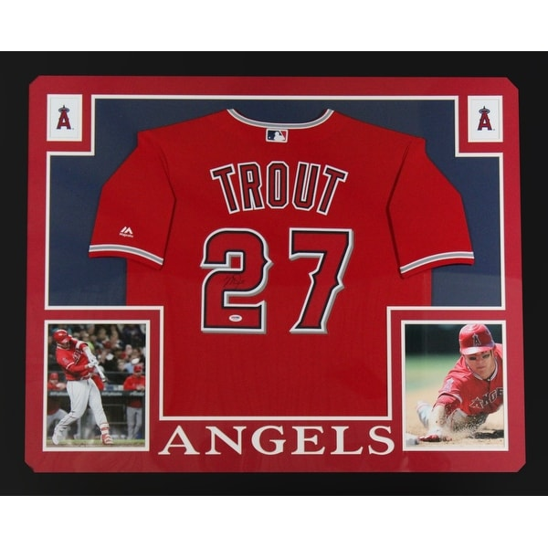 timeless design 4bfc0 0e320 Mike Trout Autographed Los Angeles Angels Signed Majestic Baseball Red  Jersey Framed PSA DNA COA BL