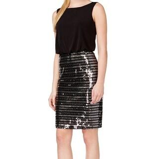 Calvin Klein NEW Black Women's Size 6 Sequined Stripe Blouson Dress
