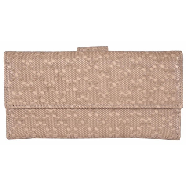 "Gucci 143389 Women's Beige Leather Diamante Continental Wallet - 7"" x 3.5"""