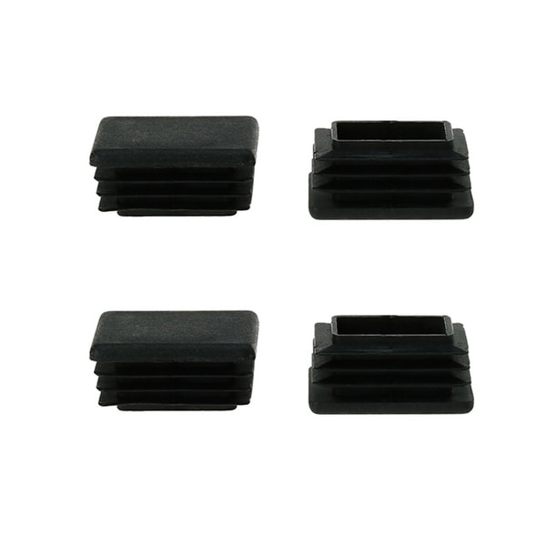 4pcs 25 x 38mm Plastic Rectangle Ribbed Tube Inserts End Cover, Furniture Chair Table Desk Feet Floor Protector