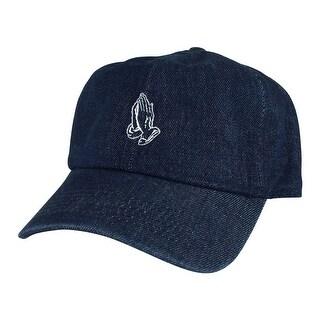 Men Pray Wish Hand Cotton Unstructured Adjustable Strapback Hat Dad Cap by CapRobot - Navy Denim White