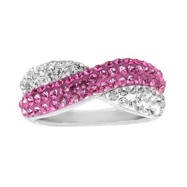Crystaluxe Crisscross Band Ring with White and Rose Swarovski Crystals in Sterling Silver