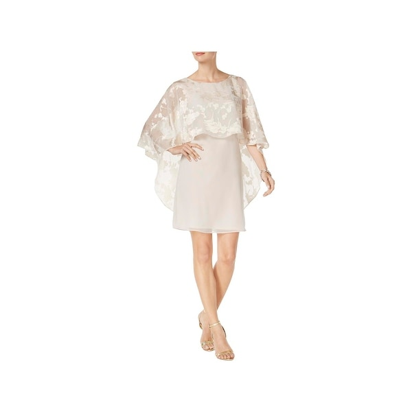 68515a330156 Shop Jessica Howard Womens Cocktail Dress Lace Overlay Capelet ...