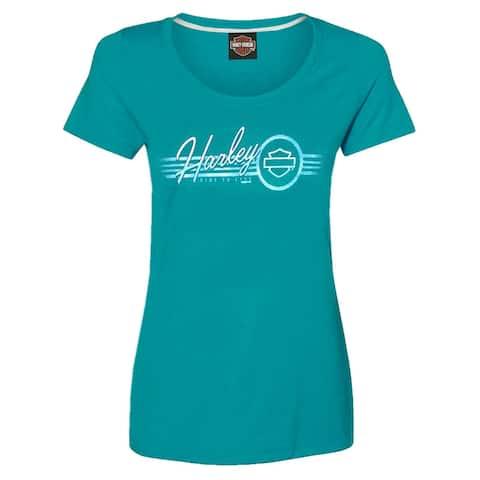 Harley-Davidson Women's Distressed H-D Scoop Neck Stretch Short Sleeve Tee, Aqua