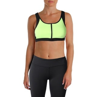 Central Park Womens Sports Bra Colorblock Front Zip