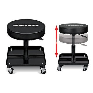 Powerbuilt Pneumatic High-Adjustable Roller Seat with Tool Tray, Garage Chair
