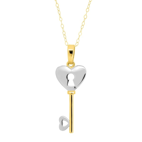 Eternity Gold Heart Lock-and-Key Pendant in 14K Two-Tone Gold