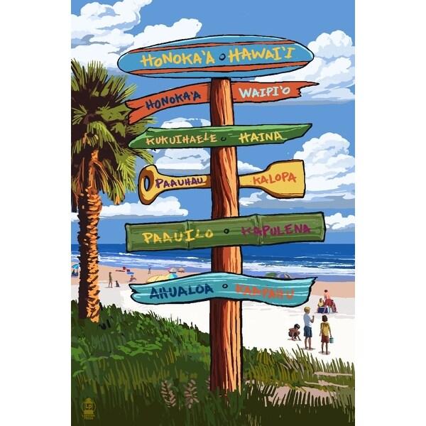 Honoka'a, Hawaii - Destination Signpost - Lantern Press Poster (Art Print -  Multiple Sizes Available) - 9 x 12 Art Print