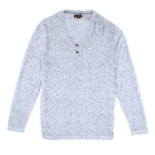 Tasso Elba NEW Light Blue Marled Mens Size 2XL V-Neck Henley Sweater