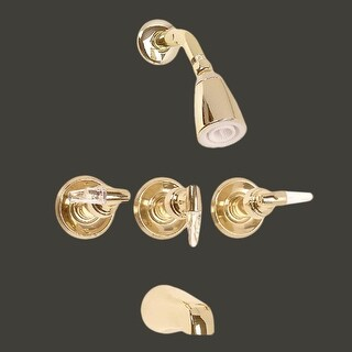 Tub Faucet Brass Tub/Shower Set w/3 Handles Wall Mount
