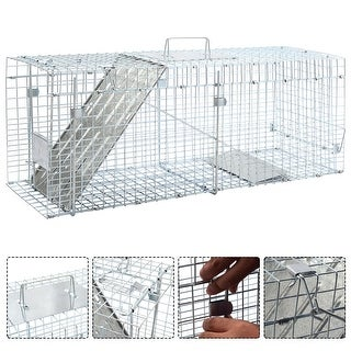 Costway Live Animal Cage Mouse Trap Rat Hamster Catch Control Bait Hunting Survival - Sliver