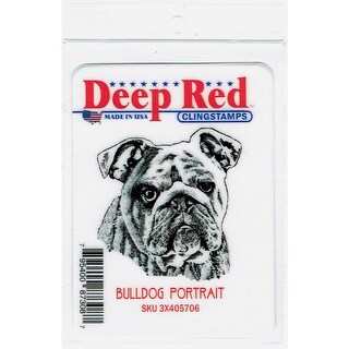 Deep Red Stamps Bulldog Portrait Rubber Cling Stamp - 2 x 2.1