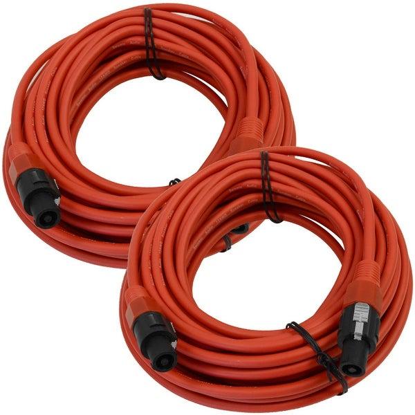 SEISMIC AUDIO Pair of 12 Gauge 50' Red Speakon to Speakon Speaker Cables