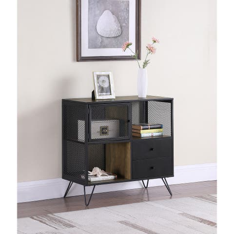Light Oak and Gunmetal Grey Hairpin Leg Accent Cabinet