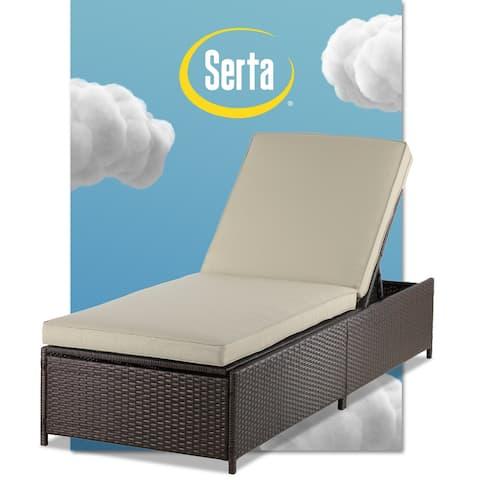 Serta Laguna Outdoor Storage Chaise Lounge - Brown Wicker