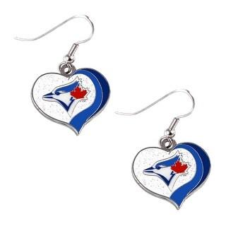 Toronto Blue Jays MLB Glitter Heart Earring Swirl Charm Set