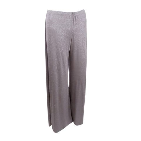 Msk Women's Metallic Wide-Leg Pants (S, Taupe/Silver) - S