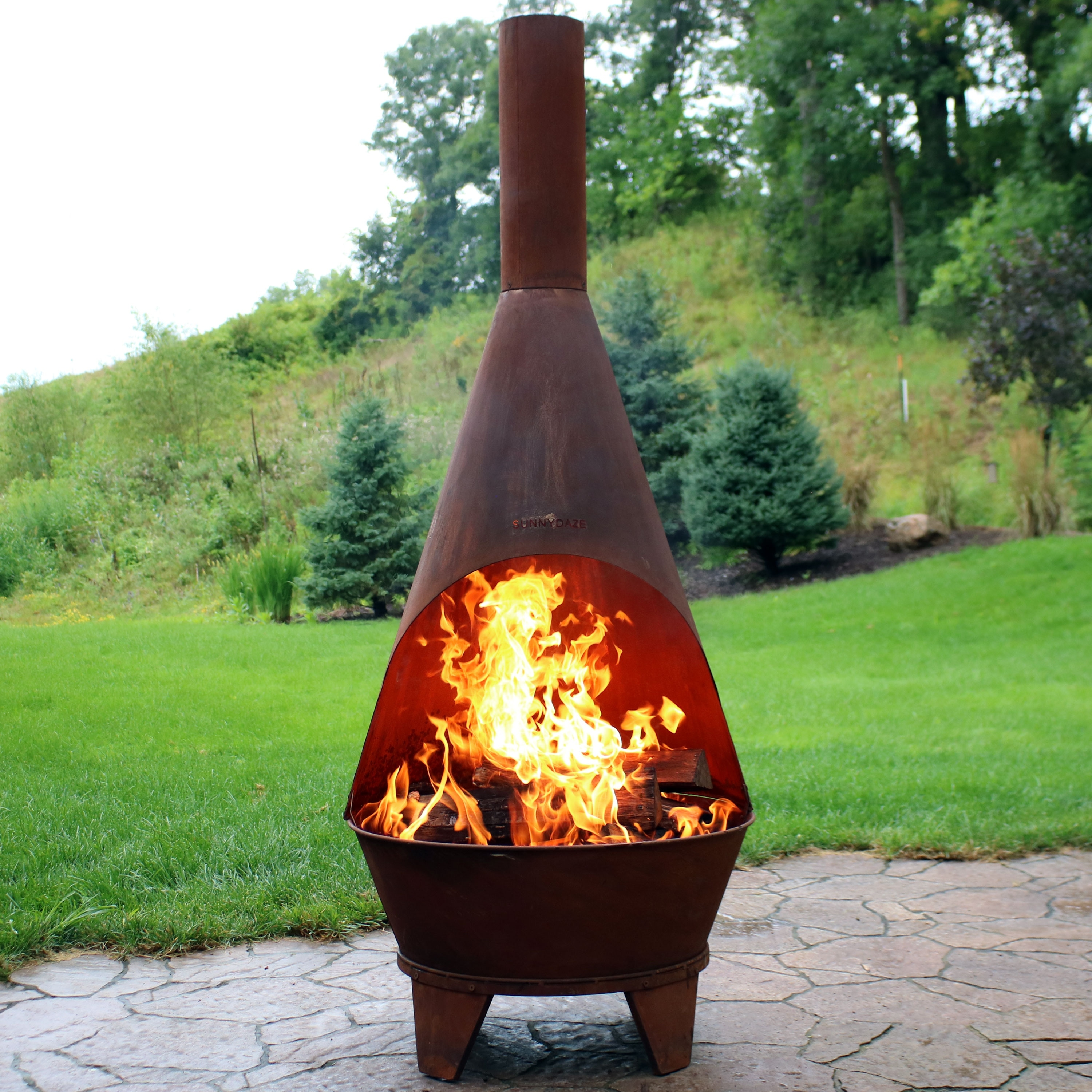 Sunnydaze 75 Inch Chiminea Wood Burning Fire Pit Steel With Oxidized Finish Overstock 21853787