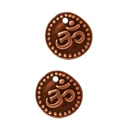 TierraCast Copper Plated Pewter 2-Sided Om Ohm Aum Charm 10mm (2)