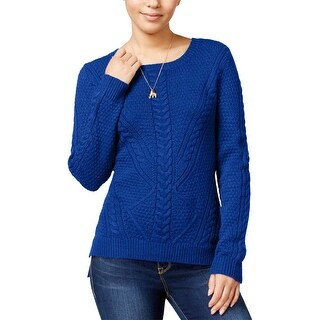 Hippie Rose Womens Juniors Pullover Sweater Cable-Front Hi-Low - XL