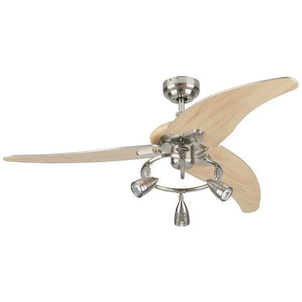 """Westinghouse 7850500 Elite 48"""" 3 Blade Hanging Indoor Ceiling Fan with Reversible Motor, Blades, Light Kit, & Down Rod Included"""