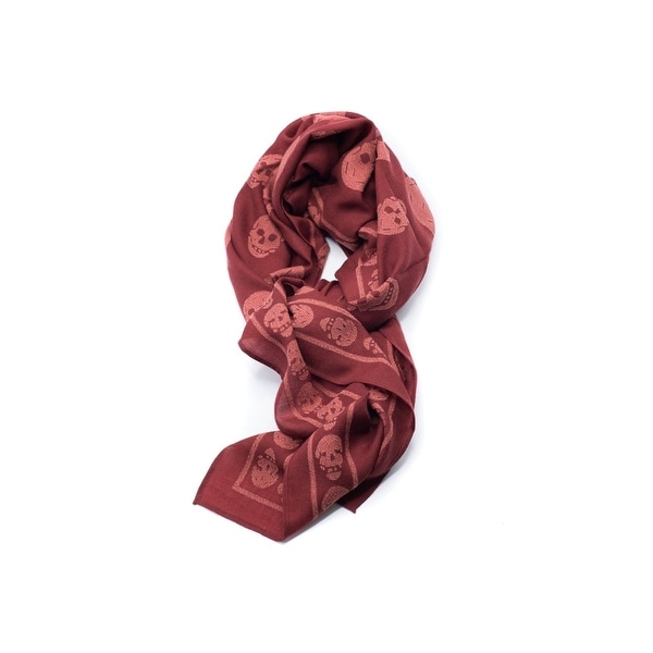 Alexander McQueen Wool blend Two-Toned Red iconic skull scarf