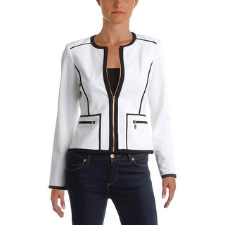Calvin Klein Womens Petites Collarless Blazer Zip-Up Contrast Trim