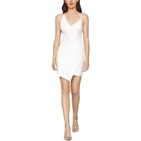 BCBG Max Azria Asymmetric V-Neck Sleeveless Mini Sheath Dress