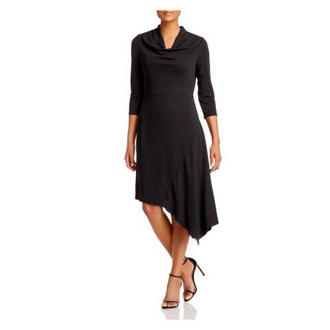 DONNA KARAN Black 3/4 Sleeve Above The Knee Dress S