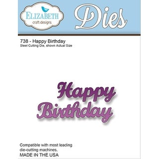 "Elizabeth Craft Metal Die-Happy Birthday, 1.5""X2.75"""