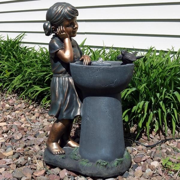 Sunnydaze Little Girl Admiring Water Spout Garden Water Fountain - 28 Inch Tall
