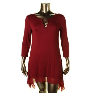 Cable & Gauge Womens Embellished 3/4 Sleeves Tunic Top