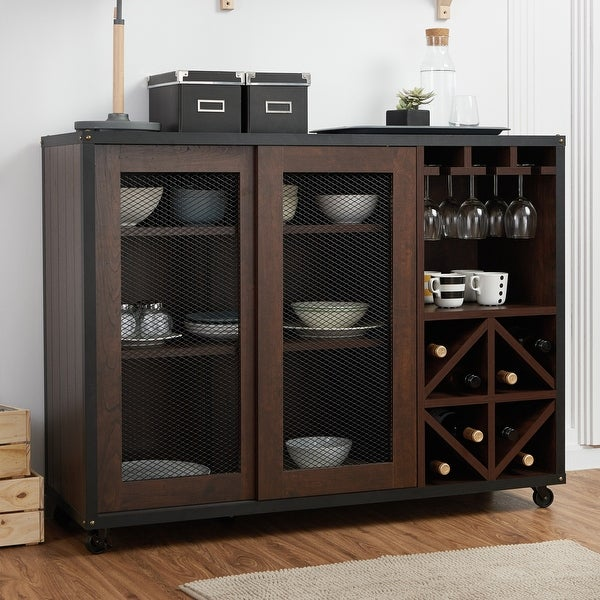 Furniture of America Hury Modern Walnut 47-inch Sliding-door Buffet. Opens flyout.