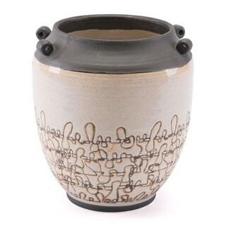 Scribble-Like Texture Ceramic Vase White