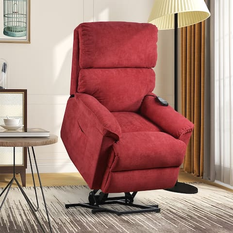 Remote Power Lift Chair with Massage Soft Fabric Upholstery Recliner