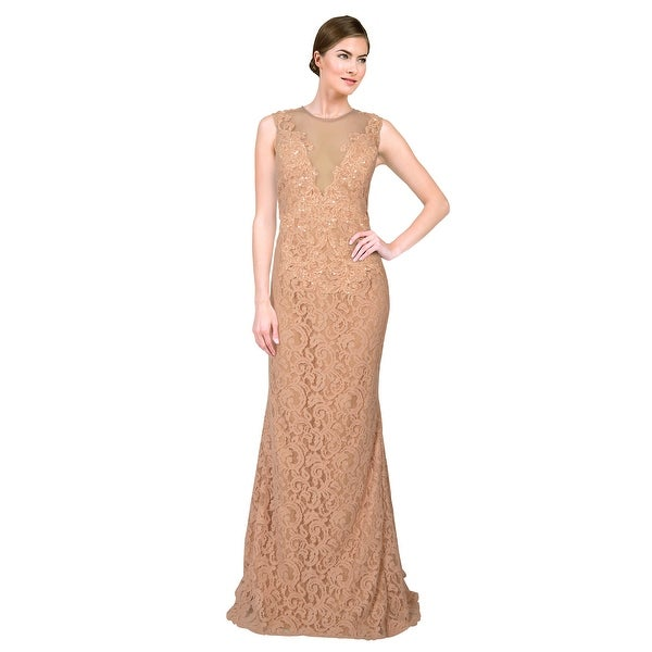 Alberto Makali Embellished Beaded Lace Plunging Illusion V-Neck Gown Dress - 14