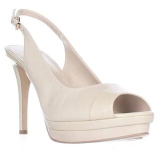 Marc Fisher Melissa Peep-Toe Slingback Heels - Medium Natural