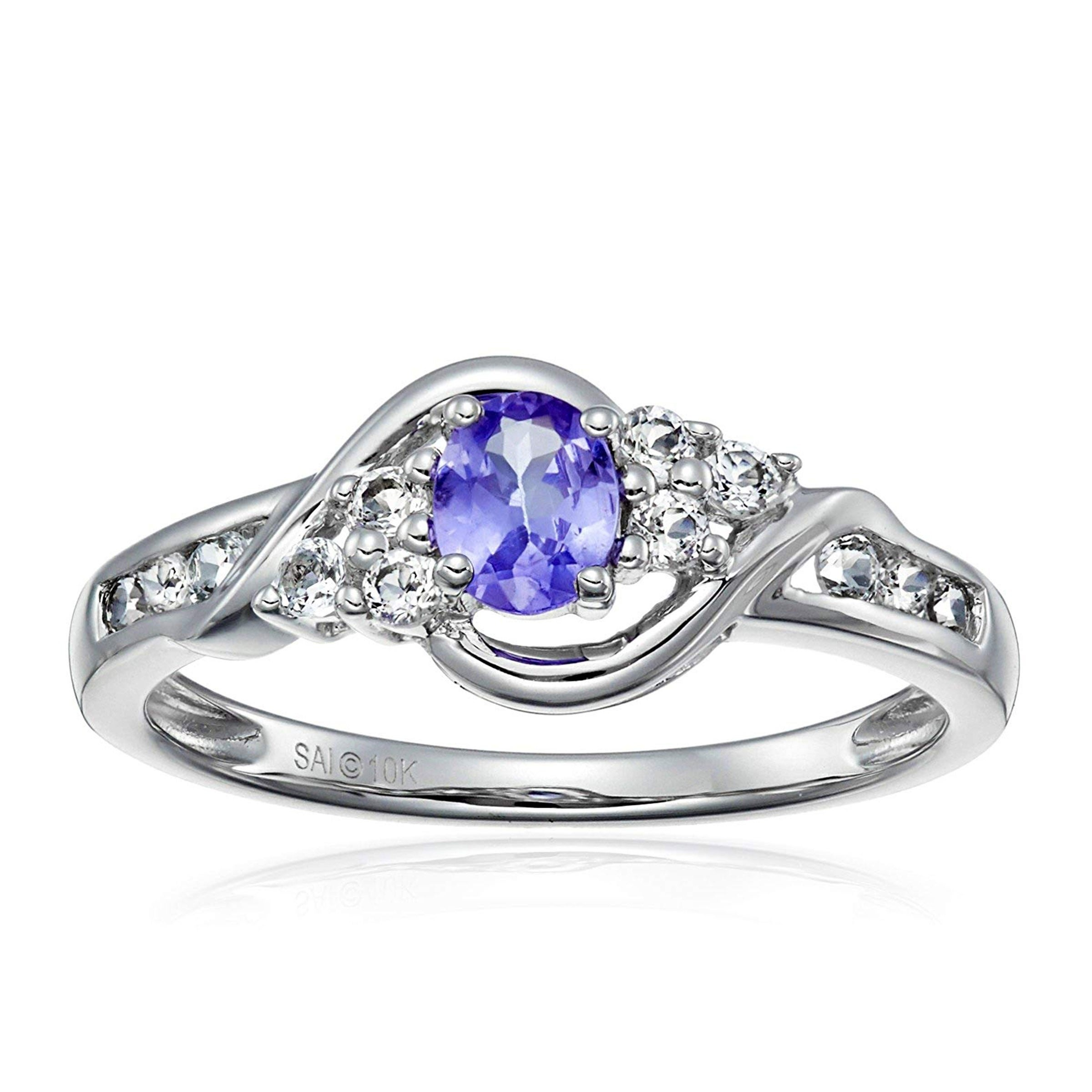 Shop Natural Oval Tanzanite White Topaz Ring In 10k White Gold Purple On Sale Overstock 28789921